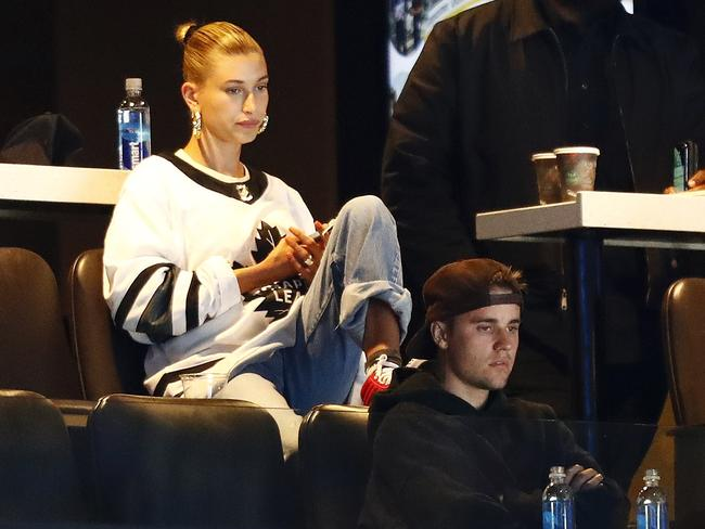 Justin Bieber, right, and his wife Hailey Bieber were spied at the 2019 NHL Stanley Cup Playoffs between the Boston Bruins and the Toronto Maple Leafs in Boston. Picture: AFP