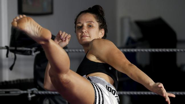 World Muaythai Council Queensland professional bantamweight (52kg) champion Kiri Bradley. Picture: ANNA ROGERS