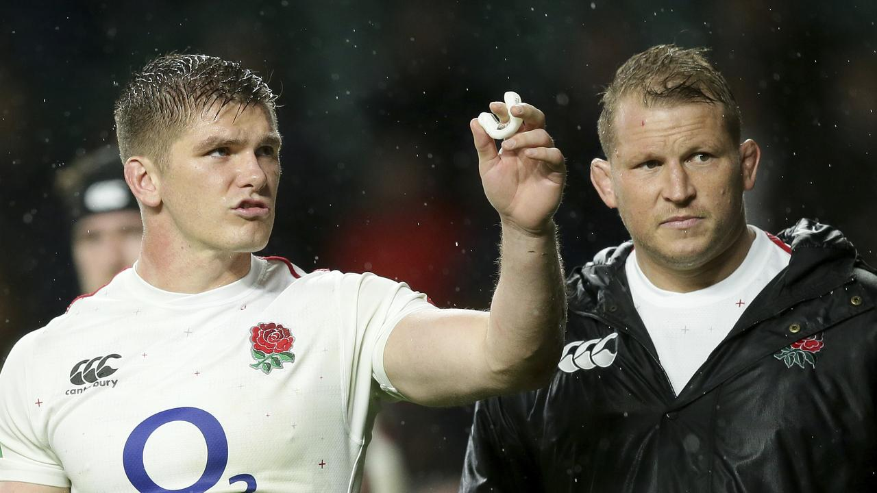 England's Owen Farrell and Dylan Hartley after the rugby international at Twickenham.