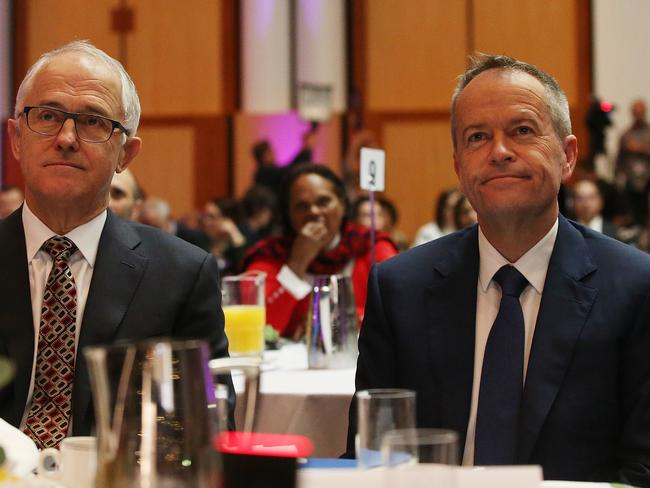 PM Malcolm Turnbull and Opposition Leader Bill Shorten at the Healing Foundation's 'Bringing Them Home' Breakfast where a report on the Stolen Generations was released. Picture: Kym Smith