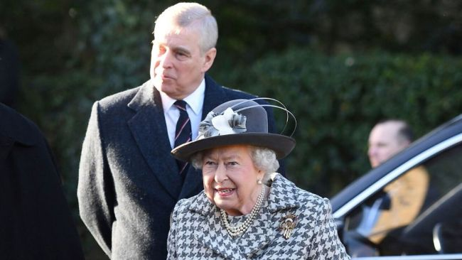 Queen Elizabeth and Prince Andrew arrive at Sunday church service. Image: Joe Giddens/PA via AP.