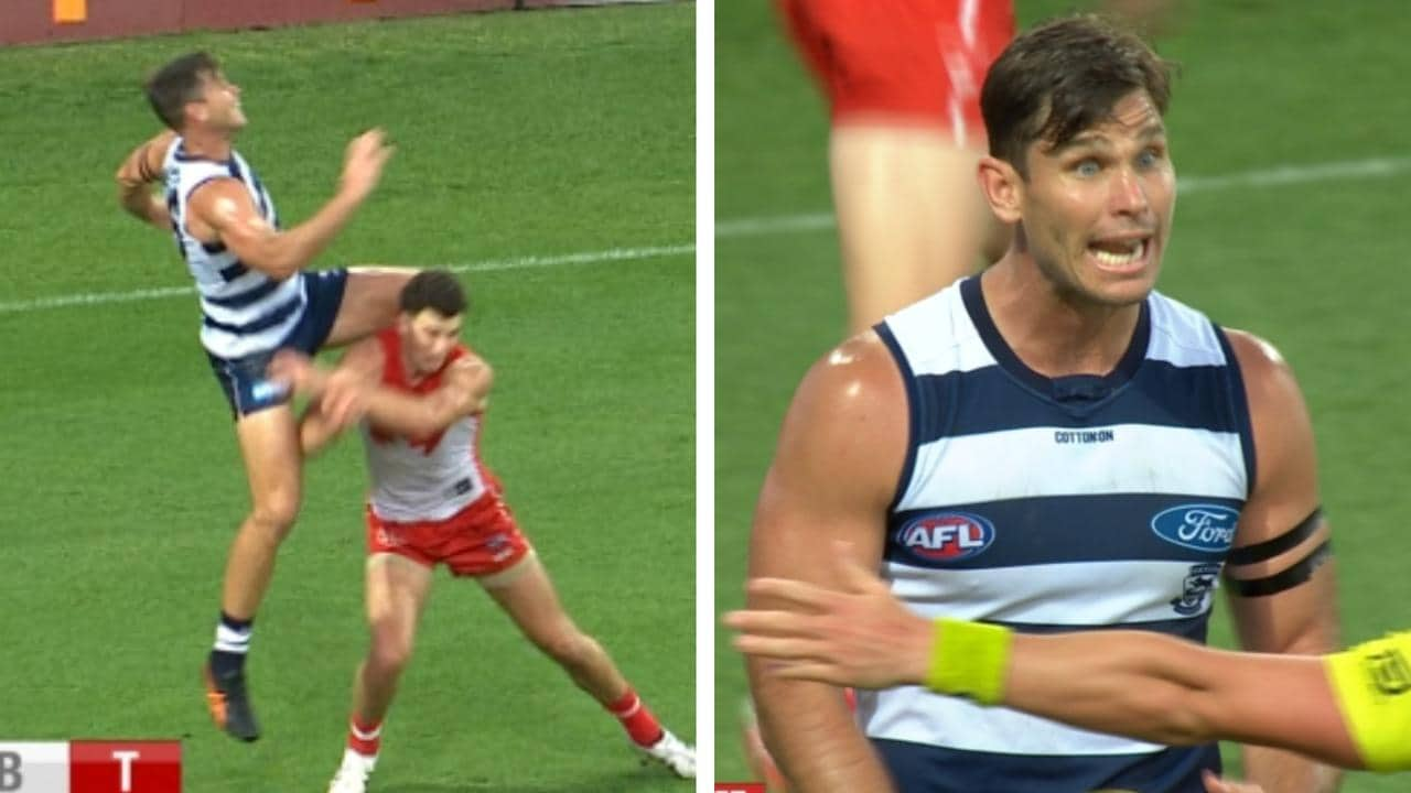 Tom Hawkins was penalised for this incident with Tom McCartin.
