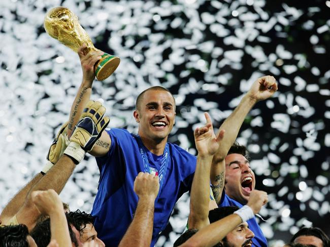 Captain Fabio Cannavaro with the World Cup trophy.
