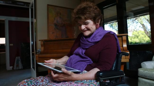 The iVote system allowed quadriplegic Joan Hume to vote electronically at the NSW State Election. Picture: Britta Campion