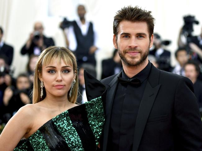 Miley Cyrus and Liam Hemsworth, pictured at the 2019 Met Gala, have confirmed they are separating. Picture: Charles Sykes