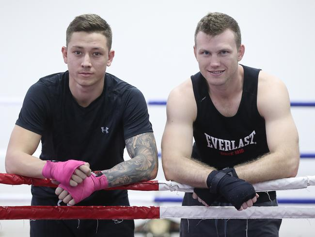 Liam Paro (L) helped Jeff Horn prepare for Manny Pacquiao. Picture: Peter Wallis