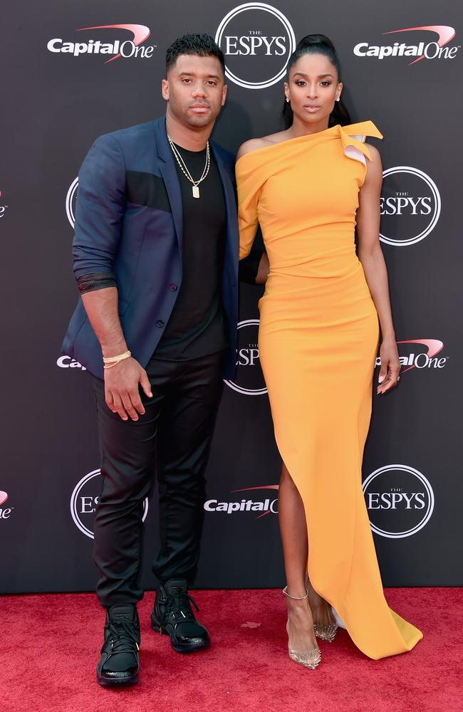 Russell Wilson and Ciara at the 2018 ESPYS awards in July this year. Picture: Alberto E. Rodriguez/Getty Images