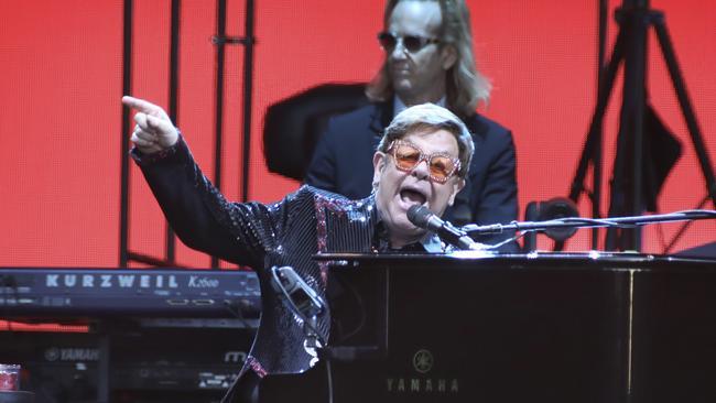 Elton John in concert on his Australian farewell tour. Picture: Dean Martin