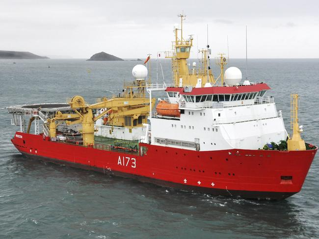 Royal Navy Antarctic Patrol Vessel HMS Protector, pictured near Plymouth in the UK, is joining the search. At least six other nations said they would join in the effort as the search area doubled. Picture: Britain's Ministry of Defence via AP
