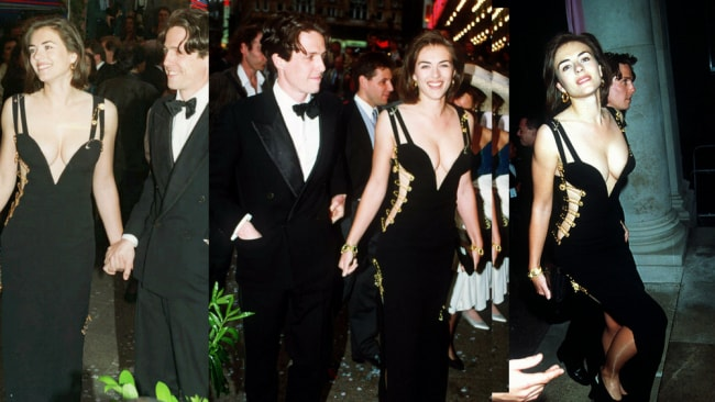 Working that safety pin dress from every angle. Hugh Grant and Elizabeth Hurley attend the Four Weddings and a Funeral premiere in 1994. Picture: UPPA.Source:News Corp Australia