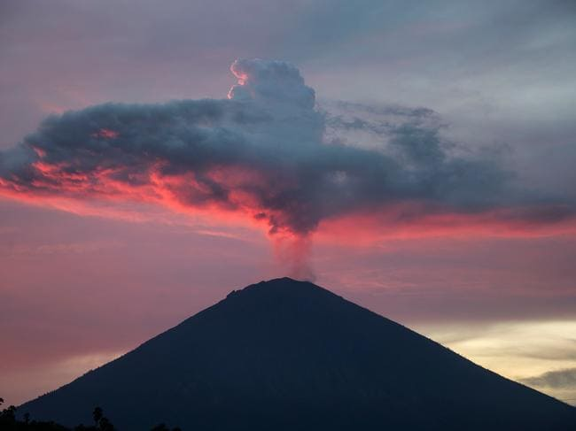 "Mount Agung from Amed beach in Karangasem on Indonesia's resort island of Bali, located on the ""Ring of Fire"". Picture: AFP"