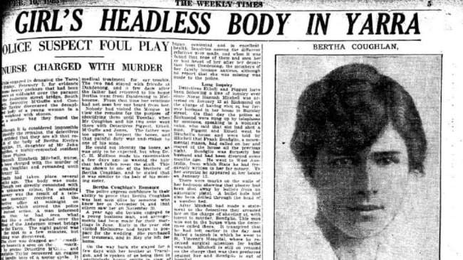 Bertha Coughlin's body was found in two sacks in the Yarra River. Source: Supplied