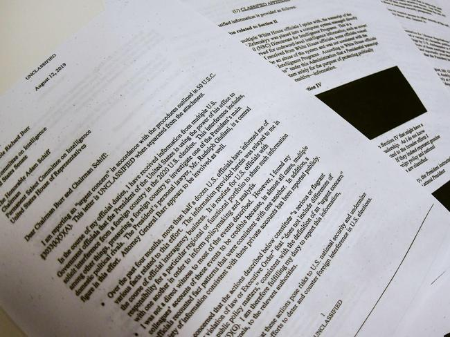 Redacted pages of the whistleblower complaint referring to US President Donald Trump's call with his Ukrainian counterpart Volodymyr Zelensky. Picture: AFP