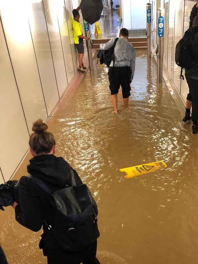 Flooding in Lewisham station during the storm.