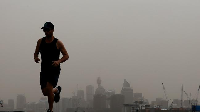 Vigorous exercise is discouraged during a dust storm. Picture: Toby Zerna