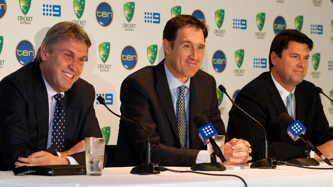 Channel 9 Entertainment CEO David Gyngell, Sutherland and TEN Chief Executive Officer and Managing Director, Hamish McLennan in 2013.