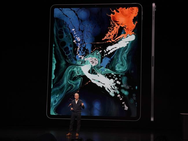 Tim Cook at the Apple launch in New York. Picture: AFP