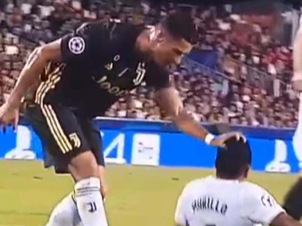 Ronaldo received a red card after appearing to pull the hair of an opponent.