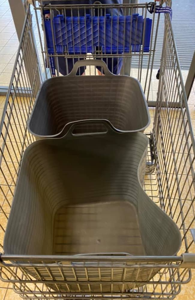 The mum said the two tubs fit perfectly into Aldi's trolleys. Picture: Facebook/Aldi Mums