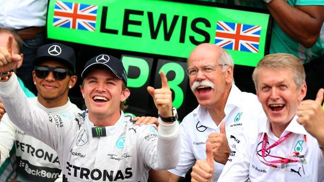 Nico Rosberg celebrates his success with his team.