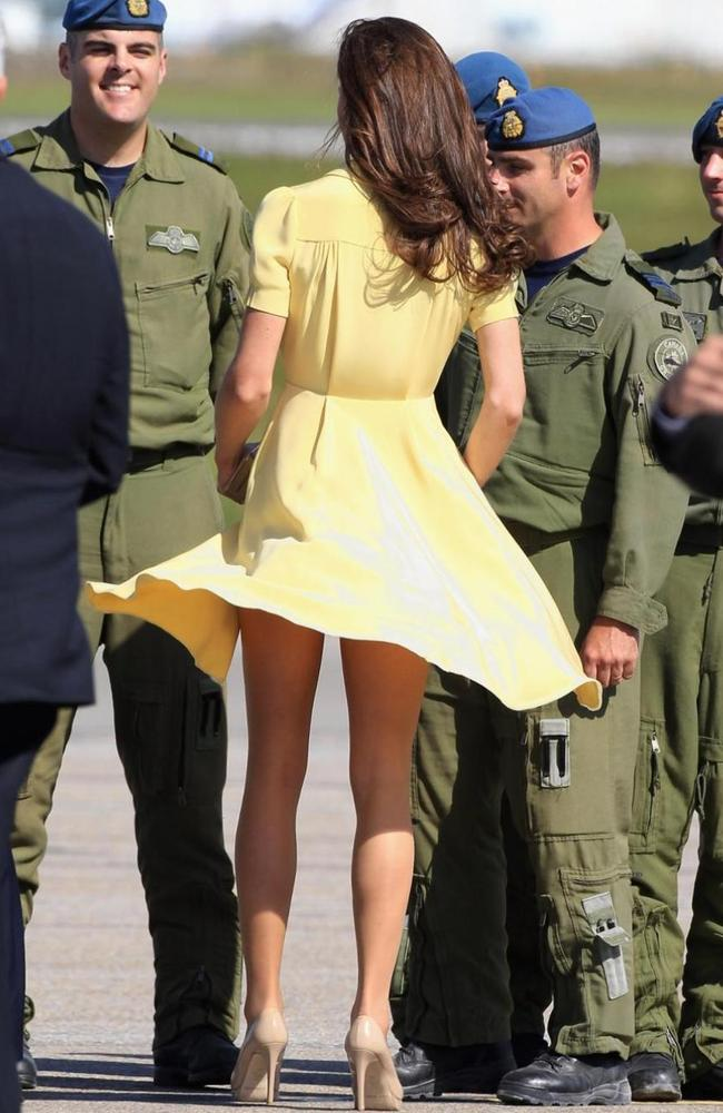 It's not as if it hasn't happened before — Kate Middleton in a windy moment in Canada way back in 2011