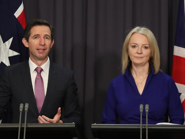 Federal Minister for Trade Simon Birmingham with UK Secretary of State for International Trade, Liz Truss MP at Parliament House in Canberra. Picture Kym Smith