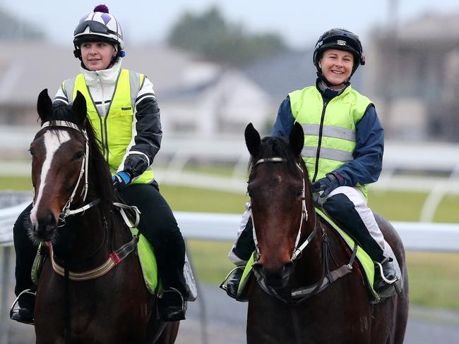 Clare Lindop (right) just happy to be back in the saddle. Picture: Sarah Reed