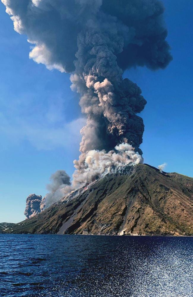 Smoke billows from the volcano on the Italian island of Stromboli. Picture: ANSA VIA AP