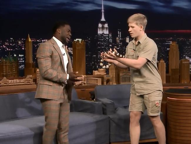 Robert has appeared with animals alongside celebrities like Kevin Hart.