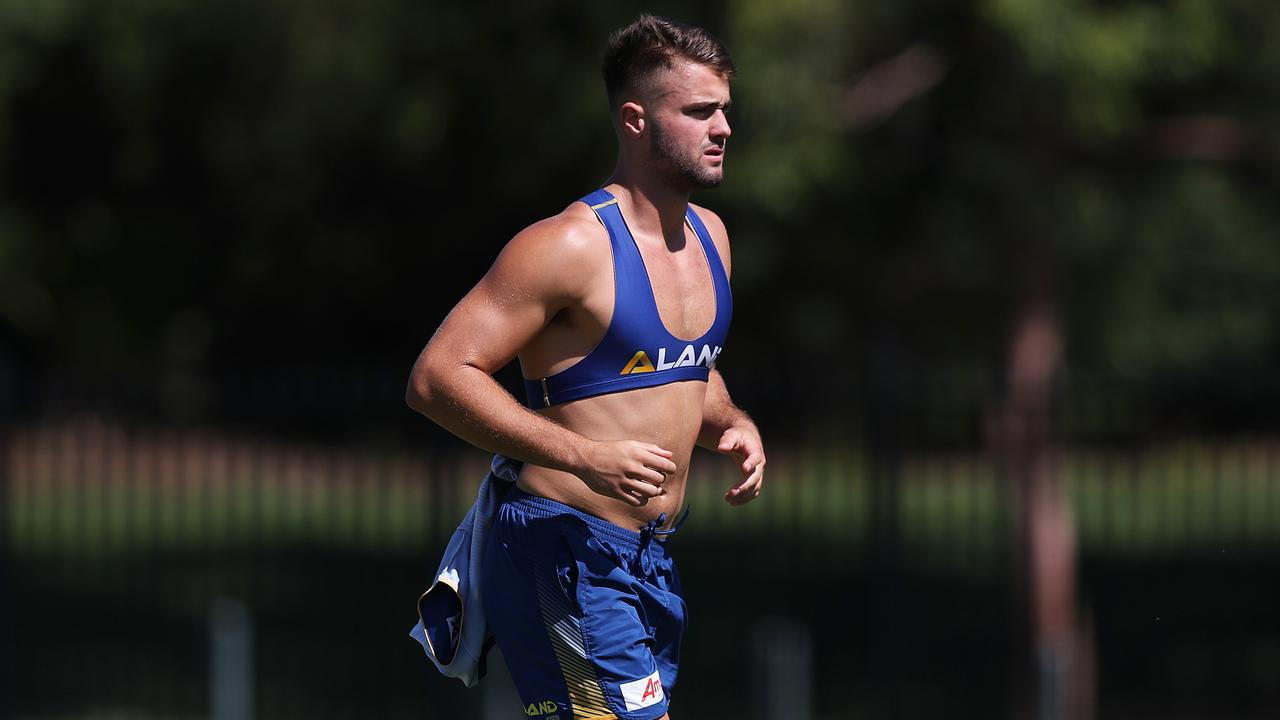Jaeman Salmon during Parramatta Eels rugby league training at Old Saleyards Reserve, Parramatta. Picture: Brett Costello