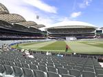 It was only the brave who sat in the open at the Adelaide Oval on Thursday. Picture: SARAH REED