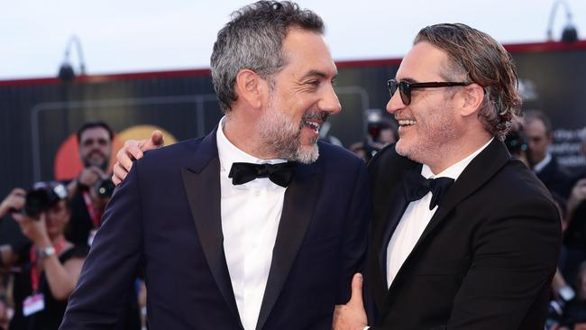 Director Todd Phillips (left) and Joaquin Phoenix at the Venice Film Festival. Picture: Getty