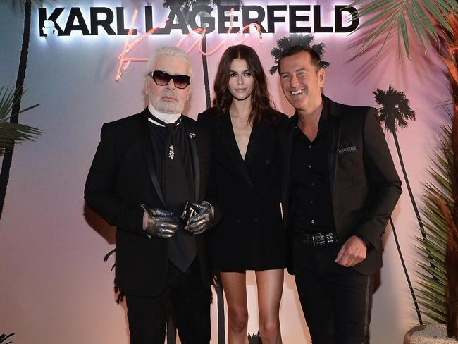 Karl Lagerfeld, Kaia Gerber and Pier Paolo Righi celebrate the launch of the Karl x Kaia collaboration capsule collection, on October 2, 2018 in Paris, France. Picture: Getty Images