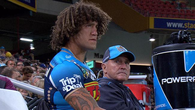 An emotional Kevin Proctor sits on the sidelines after a tackle which injured his groin.