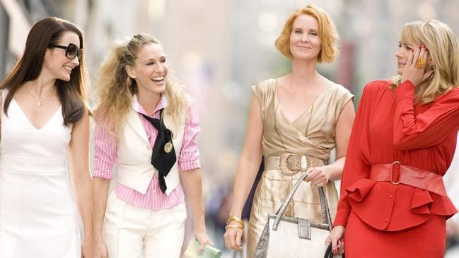 Actors Kristin Davis, Sarah Jessica Parker, Cynthia Nixon and Kim Cattrall in a scene from the 2008 film Sex And The City.