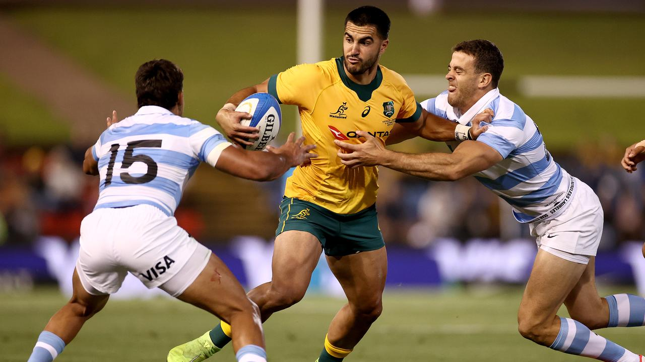 Tom Wright is tackled during the 2020 Tri-Nations match between the Wallabies and Argentina