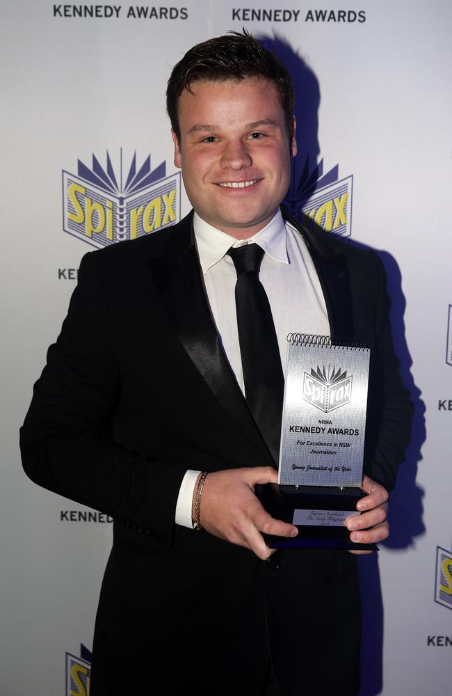 Taylor Auerbach won Young Journalist of the Year at the 2015 Kennedy Awards for Excellence in NSW Journalism held at Royal Randwick Racecourse, Sydney. Picture: Jonathan Ng