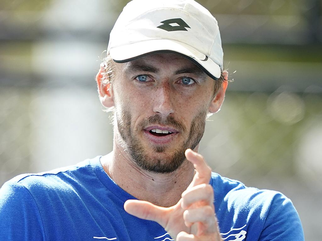 Australian tennis professional John Millman is seen during a  training session at the Queensland Tennis Centre in Brisbane, Monday, May 18, 2020. (AAP Image/Dave Hunt) NO ARCHIVING