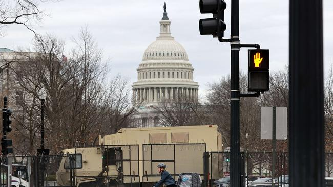 A security fence topped with razor wire surrounds the US Capitol in Washington. Picture: AFP