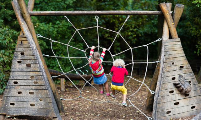 Active children playing on climbing net at school yard playground. Kids play and climb outdoors on sunny summer day. Cute girl and boy on nest swing at preschool sport center. Family summer vacation.