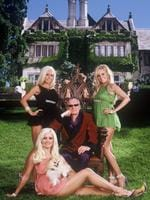 "Magazine publisher Hugh Hefner with girlfriends Holly Madison, Kendra Wilkinson and Bridget Marquardt in scene from TV program ""Girls of the Playboy Mansion"" Picture: Channel 9"