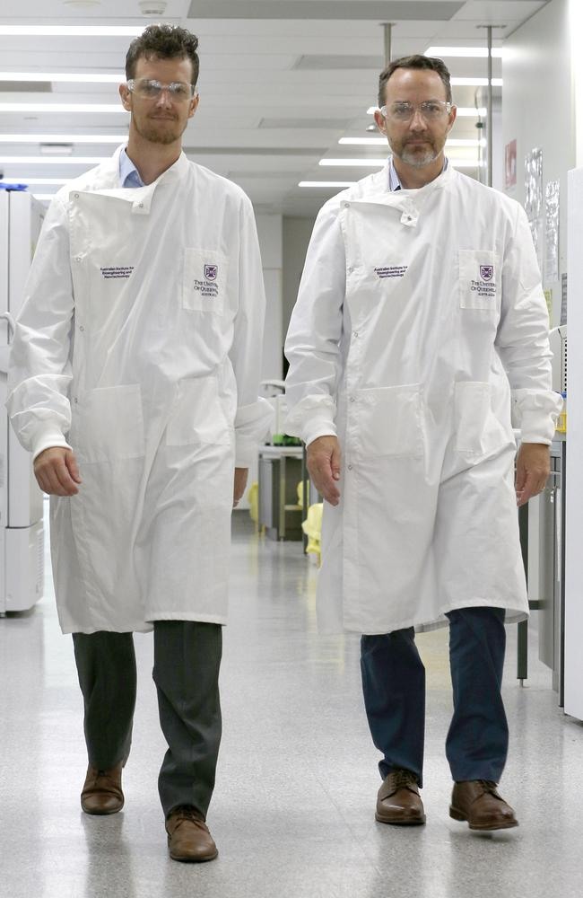 Dr Keith Chappell and Dr Trent Munro in the lab. Picture: Steve Pohlner