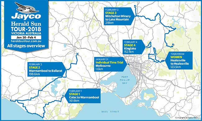 Herald Sun Tour stage overview.
