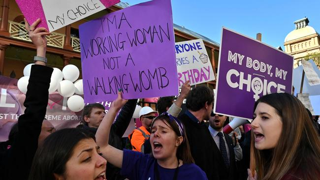 Pro-life and pro-choice advocates held conflicting protests. Picture: AFP