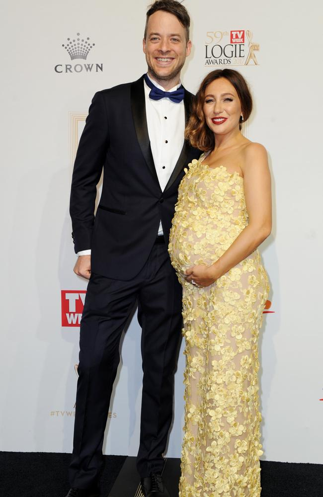 Hamish Blake and partner Zoe Foster arrive at the 2017 Logie Awards. Picture: AAP