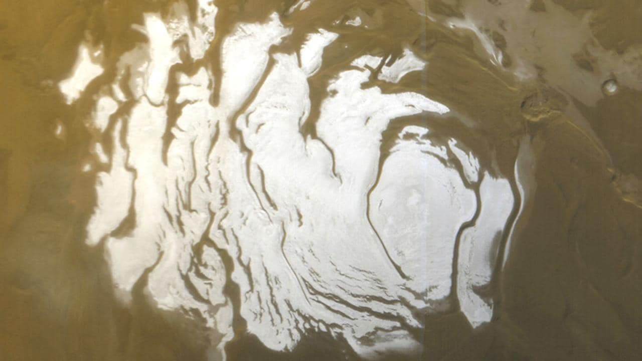 This image from NASA shows the south polar ice cap of Mars taken in 2000. Picture: AFP/ NASA/JPL/Malin Space Science Systems