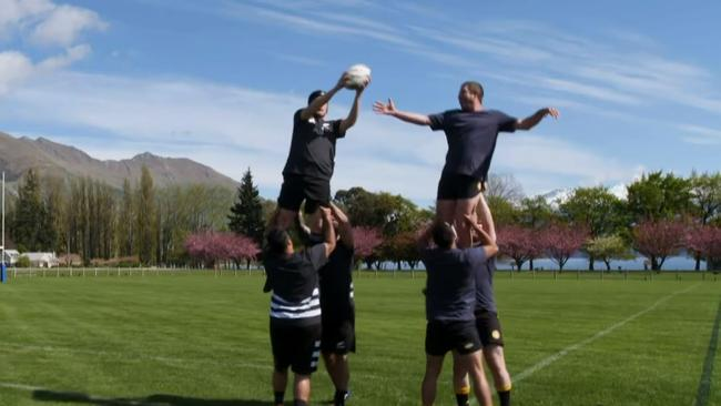 He had no trouble winning a lineout. Picture: CBS