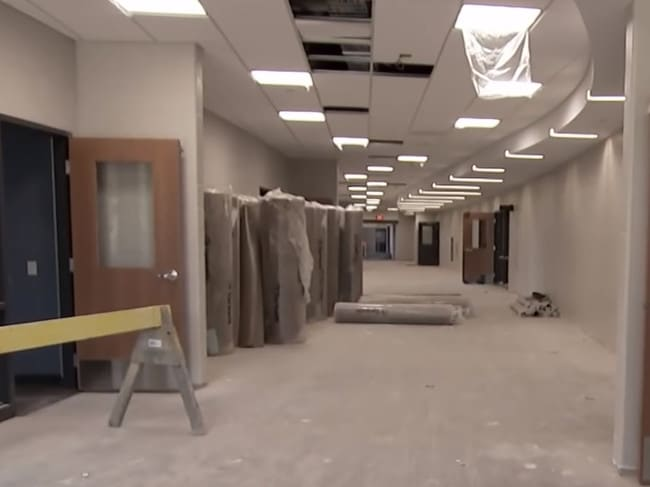 Curved hallways reduce a shooter's line of sight. Picture: YouTube/NBC News