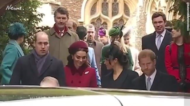 Alleged moment that William ignores Meghan at church service