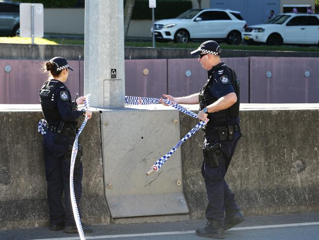 Police were forced to block the block Shaftston Ave. Picture: Claudia Baxter/AAP